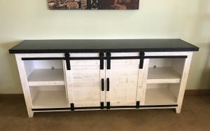Rustic Barn Door Tv Stand Solid Wood Entertainment Center Within Favorite Rustic White Tv Stands (View 15 of 15)