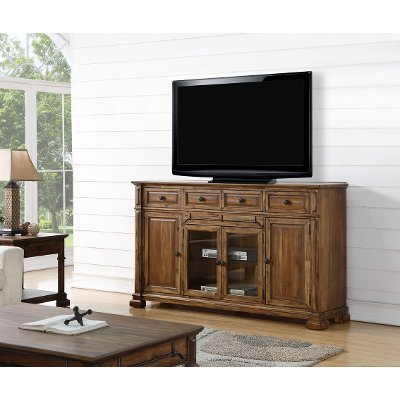 """Rustic Brown 4 Piece Antique Entertainment Center With Regard To Current Chrissy Tv Stands For Tvs Up To 75"""" (View 7 of 15)"""