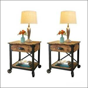 Rustic End Tables Country Pine Finish Wood & Metal Side With Regard To Well Known Rustic Country Tv Stands In Weathered Pine Finish (View 11 of 15)