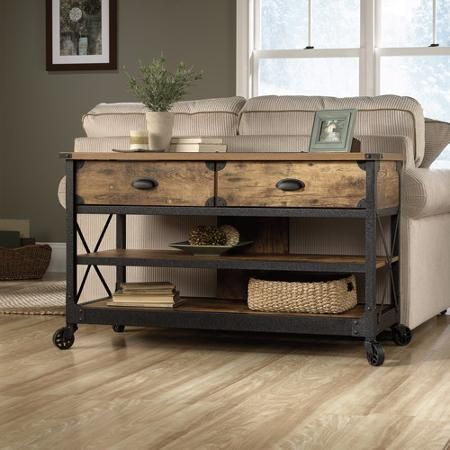 Rustic Living Room Furniture, Industrial Intended For Most Up To Date Alden Design Wooden Tv Stands With Storage Cabinet Espresso (View 5 of 15)
