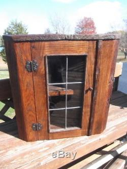 Rustic Oak Barnwood Corner Cabinet With Leaded Glass Door Inside Well Liked Dark Brown Tv Cabinets With 2 Sliding Doors And Drawer (View 1 of 15)
