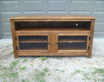 Rustic Pallet Tv Stand Chicken Wire Doors Sideboard Inside Well Liked Rustic Red Tv Stands (View 14 of 15)