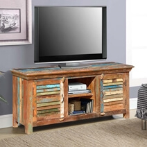 Rustic Reclaimed Wood Rainbow Shutter Doors Tv Stand Media Throughout Most Popular Rustic Wood Tv Cabinets (View 13 of 15)
