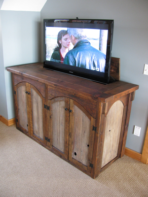 Rustic Tv Lift Cabinet 4 Door Custom Rustic Furniture With Regard To 2018 Tv Stands 38 Inches Wide (View 10 of 15)
