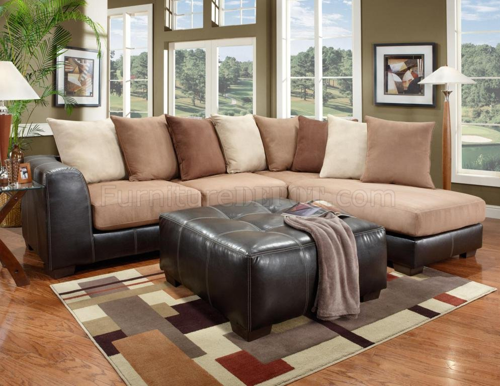Saddle Fabric & Dark Brown Vinyl Modern Sectional Sofa With Sectional Sofas With Oversized Ottoman (View 8 of 15)