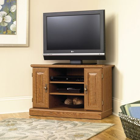 Sauder, Corner Tv Stand, Carolina Oak Finish, 401486 With Regard To Well Known Tv Stands For Corner (View 12 of 15)