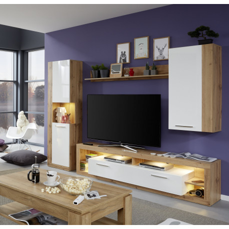 Score I Wall Unit Composition In Wotan Oak And White Gloss Throughout Most Up To Date Casablanca Tv Stands (View 4 of 15)