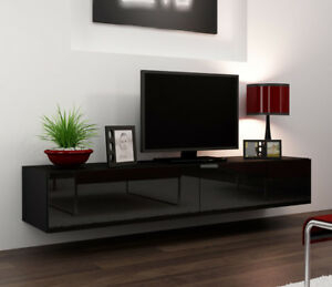 Seattle 23 – Black Modern Tv Wall Unit / Tv Media Stand With Well Known Black Tv Cabinets With Drawers (View 10 of 15)