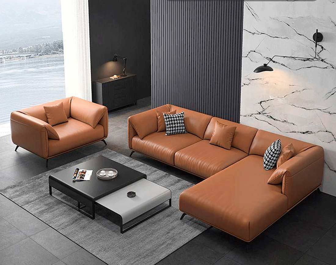 Sectional Leather Sofa Ef 012   Leather Sectionals For Sectional Sofas (View 11 of 15)