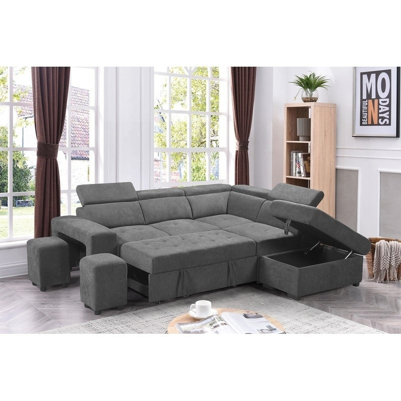 Sectional Sofa Sleeper L Shaped Pull Out Bed Storage Pertaining To Hartford Storage Sectional Futon Sofas (View 9 of 15)