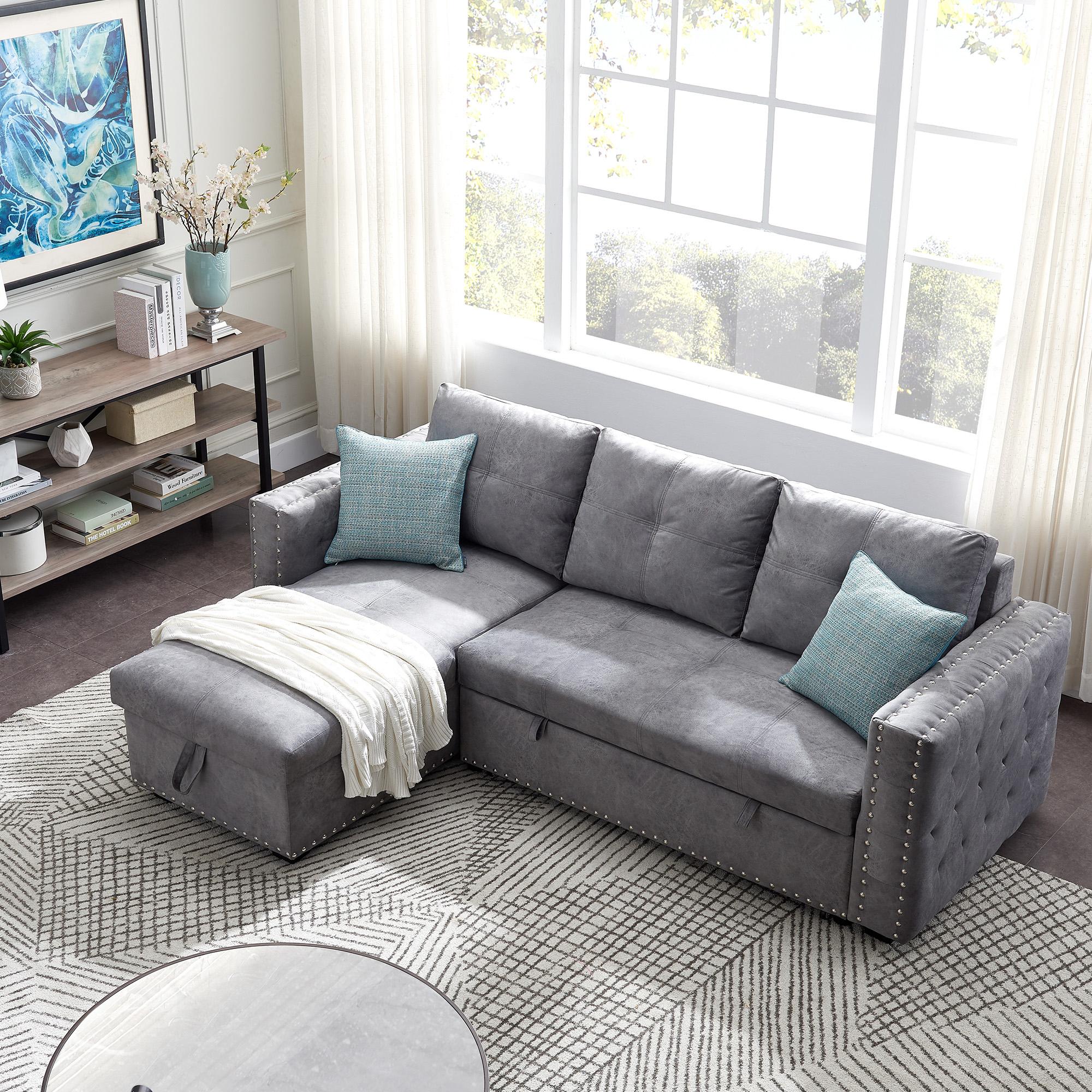 Segmart Sectional Sofa, Gray Fabric – Walmart Regarding Copenhagen Reversible Small Space Sectional Sofas With Storage (View 6 of 15)