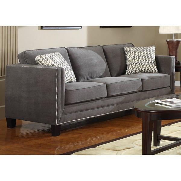 Shop Charcoal Grey Contemporary Sofa – Free Shipping Today Regarding Ludovic Contemporary Sofas Light Gray (View 15 of 15)