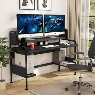 Shop Computer Desk With Hutch, 55 Inch Large Gaming Desk Throughout Popular Space Saving Gaming Storage Tv Stands (View 8 of 12)