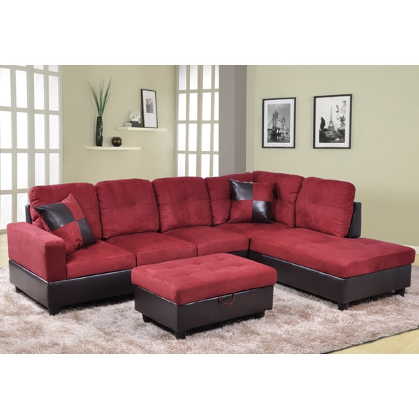 Shop Delima 3 Piece Burgundy Microsuede And Faux Leather Intended For Cromwell Modular Sectional Sofas (View 5 of 15)