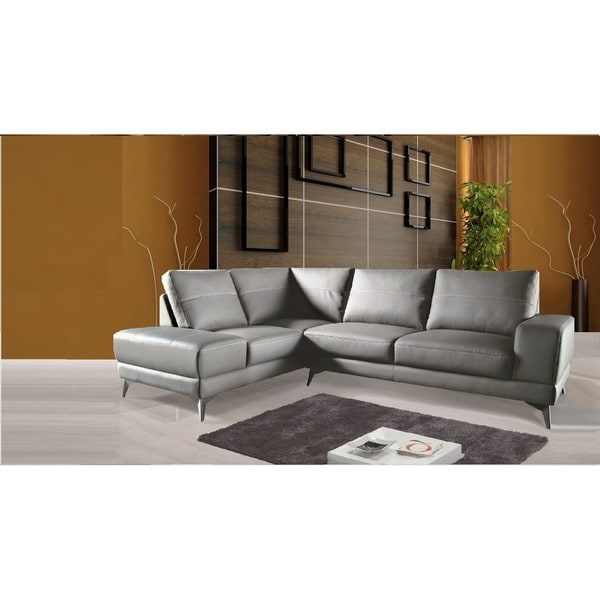 Shop Zoe Sectional Top Grain Leather Sofa Facing Left Inside Dulce Right Sectional Sofas Twill Stone (View 10 of 15)