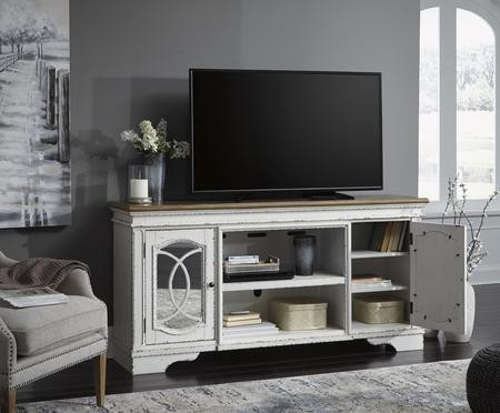 Signature Designashley Realyn Chipped White Extra Throughout Recent 57'' Tv Stands With Led Lights Modern Entertainment Center (View 7 of 15)