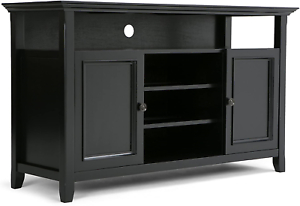 Simpli Home Amherst Solid Wood Universal Tv Media Stand Intended For 2017 Indi Wide Tv Stands (View 8 of 15)
