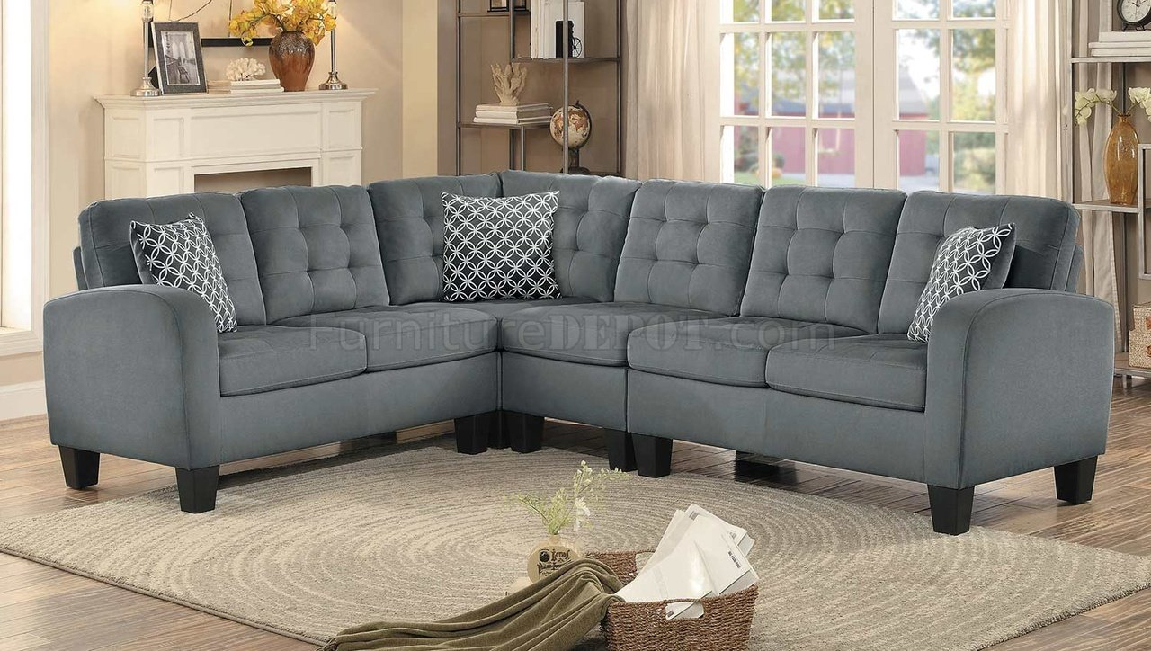 Sinclair Sectional Sofa 8202Gry Sc In Grey Fabric With Regard To Noa Sectional Sofas With Ottoman Gray (View 10 of 15)