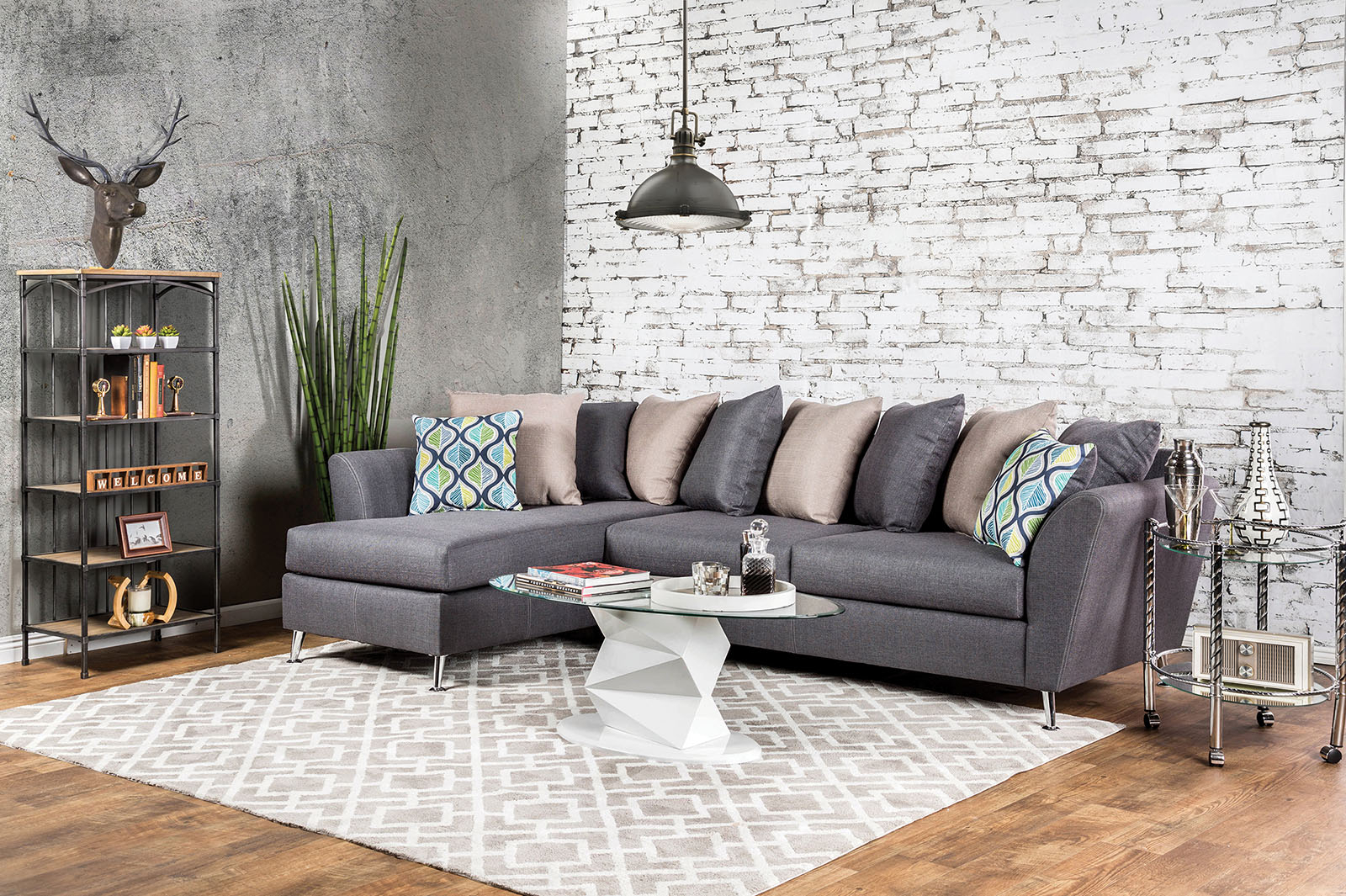 Sm6201 Gray Loose Pillow Back Multi Color Sectional Sofa Throughout Noa Sectional Sofas With Ottoman Gray (View 13 of 15)
