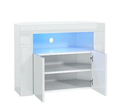 Small Corner Tv Unit High Gloss &Matt White Stand Cabinet For Most Up To Date White Corner Tv Cabinets (View 10 of 15)