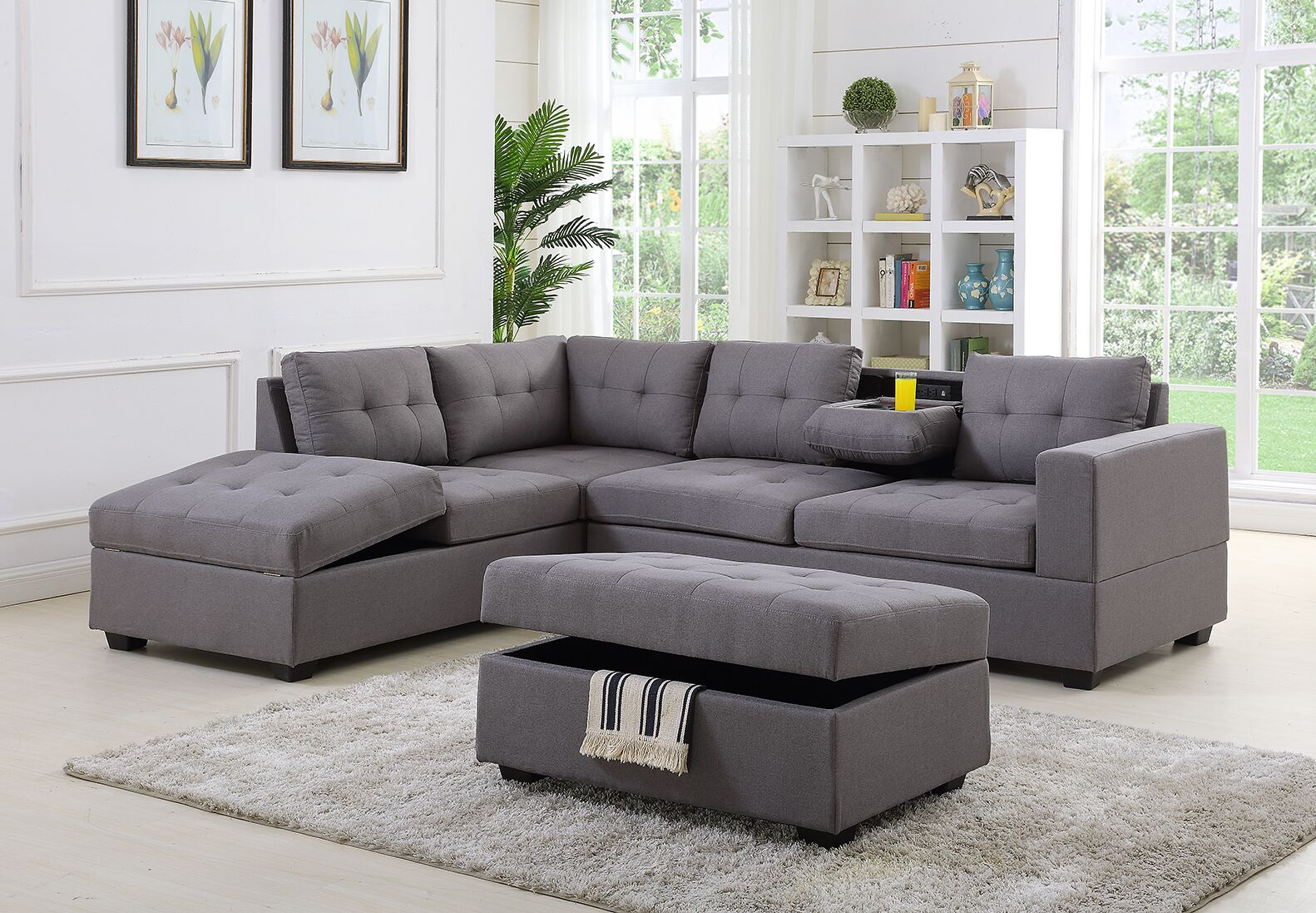 Sofa Sectionnel Grey Upholstered Sectionnel Sofa Bed With With Regard To Houston Sectional Sofas (View 3 of 15)