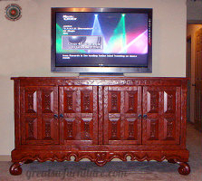 Southwest Curved, Flat Screen Tv Stands & Cabinets Plasma Inside Fashionable Owen Retro Tv Unit Stands (View 4 of 15)