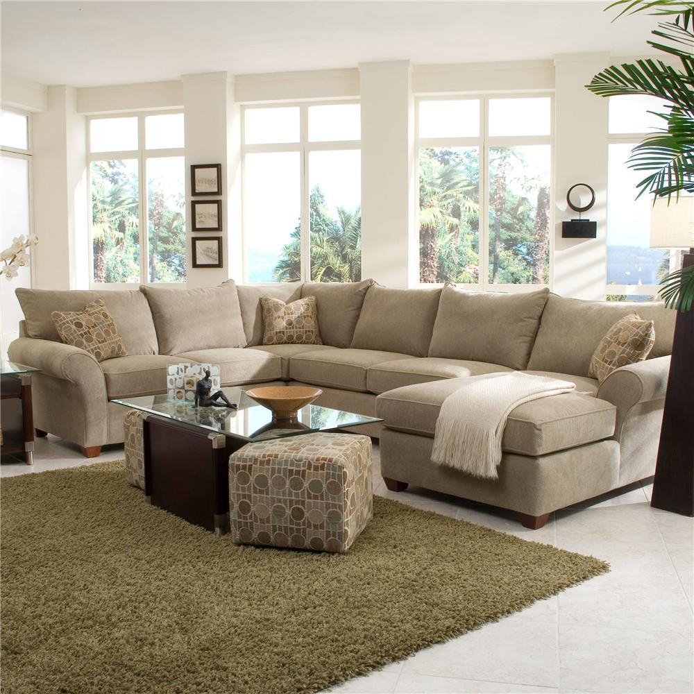 Spacious Sectional With Chaise Loungeklaussner | Wolf For 4Pc Crowningshield Contemporary Chaise Sectional Sofas (View 11 of 15)
