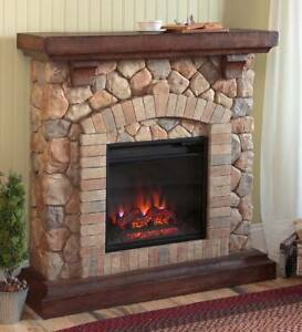 Stacked Stone Electric Quartz Fireplace Heater / Ventless Intended For Favorite French Country Tv Stands (View 15 of 15)