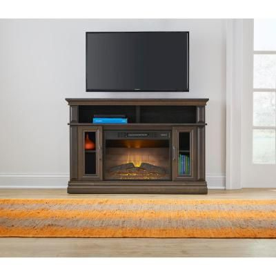 Stylewell Flint Mill 48In Media Console Electric Fireplace Inside Current Fireplace Media Console Tv Stands With Weathered Finish (View 2 of 15)