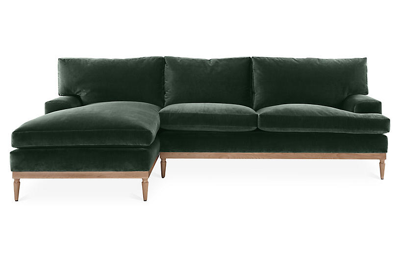 Sutton Left Facing Sectional – Forest Green Velvet   Green Within Green Sectional Sofas (View 15 of 15)