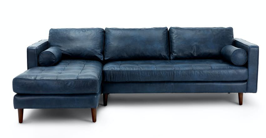 Sven Oxford Blue Right Sectional Sofa In 2020 | Mid Pertaining To Dulce Mid Century Chaise Sofas Dark Blue (View 5 of 15)