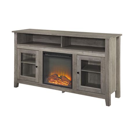 """Tall Rustic Fireplace Tv Stand For Tv'S Up To 64"""" – Grey Within Most Recently Released Rustic Tv Stands (View 4 of 15)"""