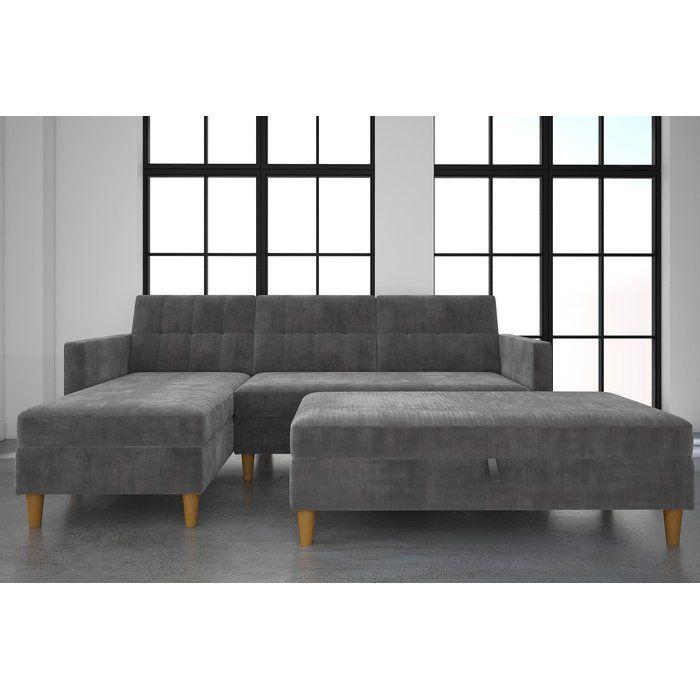 This Stigall Futon Storage Reversible Sleeper Sectional Is With Regard To Copenhagen Reversible Small Space Sectional Sofas With Storage (View 12 of 15)