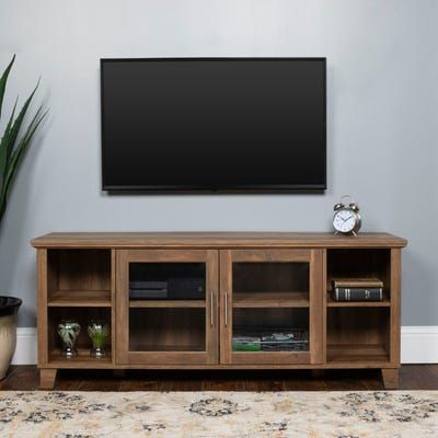 Traditional Rustic Oak Tv Stand With Glass Doors (View 6 of 15)