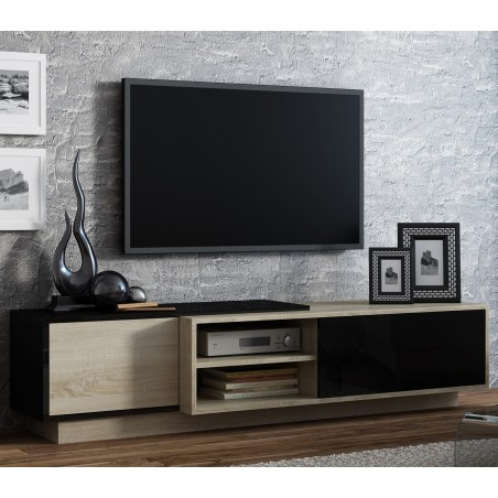 Trendy Bromley Black Wide Tv Stands Regarding Bmf Sigma 1C Tv Stand 180Cm Wide Sonoma Oak Wood Effect (View 6 of 15)
