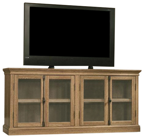 Trendy Bromley Grey Corner Tv Stands Throughout Scribed Oak Wood Finish Tv Stand With Tempered Glass Doors (View 15 of 15)