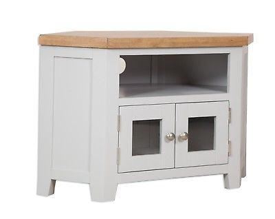 Trendy Compton Ivory Corner Tv Stands With Baskets With Regard To Dorset Oak Glass Corner Solid Tv Unit Cabinet Pine In (View 3 of 15)