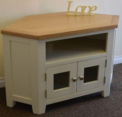 Trendy Compton Ivory Corner Tv Stands With Regard To Dorset Oak Corner Tv Unit Solid Glass Cabinet Pine In (View 7 of 15)