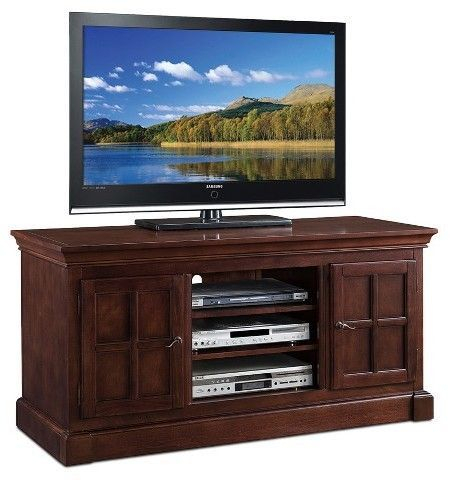"""Trendy Corner Tv Cabinets With Glass Doors Inside Leick Furniture Bella Maison Two Door 52"""" Tv Stand (View 3 of 15)"""