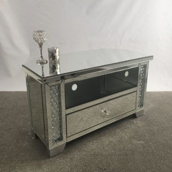 Trendy Fitzgerald Mirrored Tv Stands For Venetian Mirrored Glass Crystal Corner Mirrored Tv Stand (View 8 of 15)