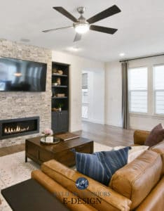 Trendy White Painted Tv Cabinets In Living Room, Stacked Stone Fireplace, Tv, Builtins Painted (View 14 of 15)