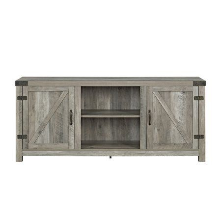 """Trendy Woven Paths Transitional Corner Tv Stands With Multiple Finishes Pertaining To 58"""" Barn Door Tv Stand With Side Doors For Tvs Up To  (View 6 of 15)"""