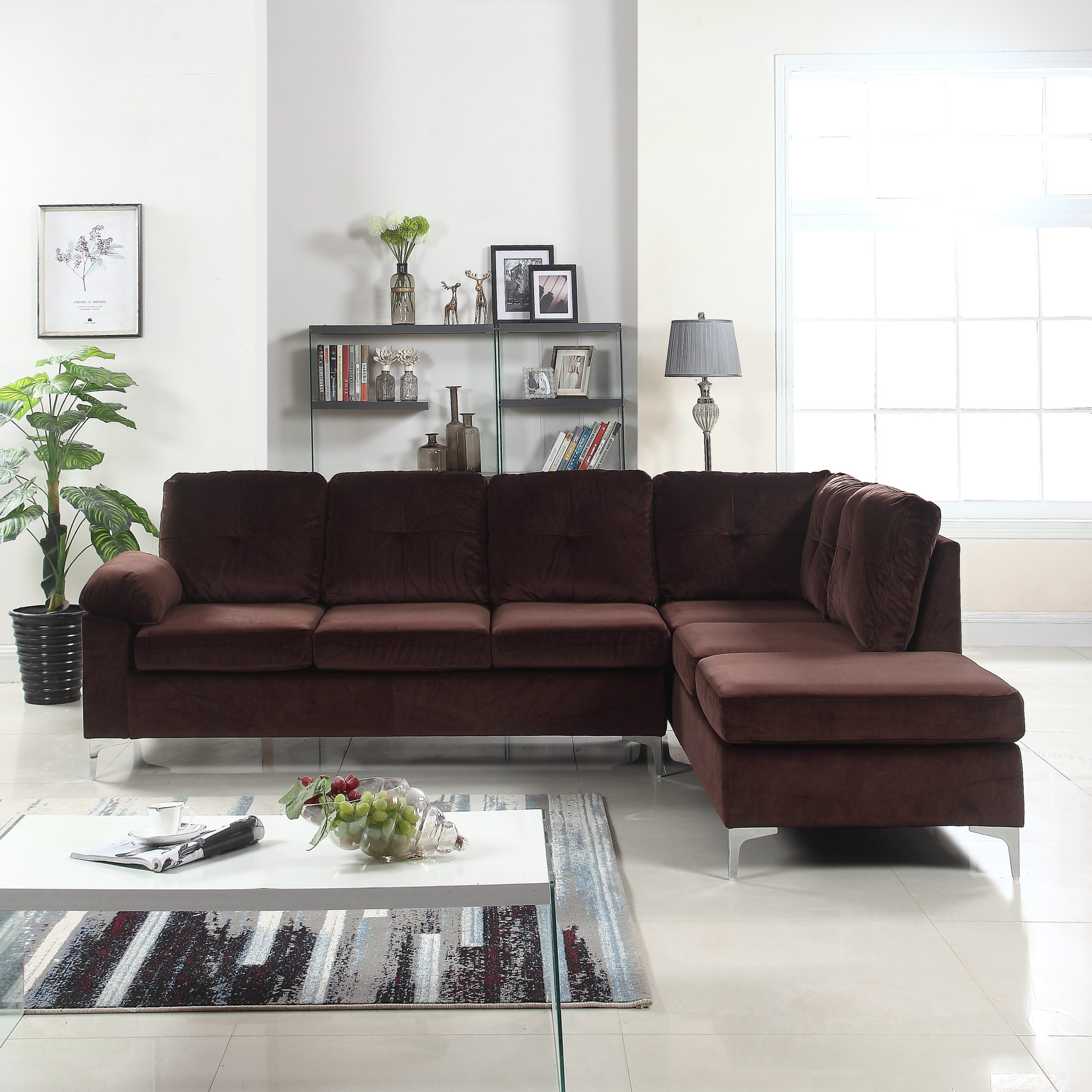 Tufted Brush Microfiber Sectional Sofa, Large L Shape Throughout Sectional Sofas With Oversized Ottoman (View 6 of 15)