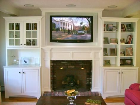 Tv Above Fireplace In Custom Cabinet With In Ceiling With Recent Fancy Tv Stands (View 2 of 15)
