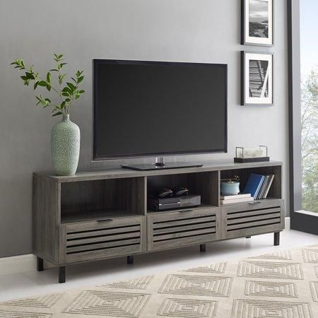 Tv Cabinets With Doors, Grey Tv Stand, Tv Stand Throughout Trendy Tv Cabinets With Glass Doors (View 9 of 15)