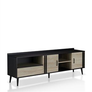 Tv Stand, 70 Inch Tv Stand Pertaining To 2017 Walker Edison Wood Tv Media Storage Stands In Black (View 12 of 15)