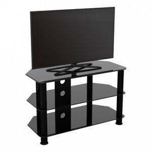 """Tv Stand Modern Black Glass Unit For Up To 42"""" Inch Hd Lcd With Regard To Best And Newest Dillon Black Tv Unit Stands (View 7 of 15)"""