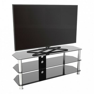 """Tv Stand Modern Black Glass Unit Up To 60"""" Inch Hd Lcd Led Within Famous Led Tv Cabinets (View 13 of 15)"""