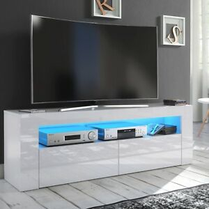 Tv Stand Modern High Gloss &Matt White Unit Cabinet Led With Regard To Most Current Modern White Gloss Tv Stands (View 6 of 15)