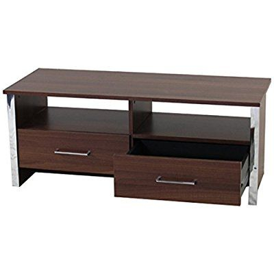 Tv Stand Walnut 2 Drawer Entertainment Television Cabinet With Well Liked Chromium Tv Stands (View 4 of 15)
